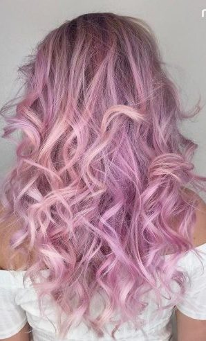Long Lavender Curly Hairstyle