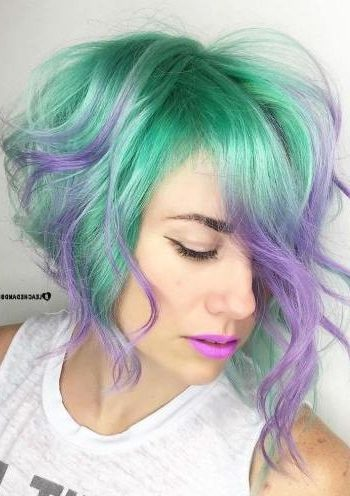 Pastel Teal Bob With Purple Highlights