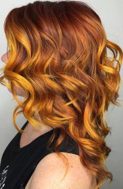 copper hair with yellow highlights