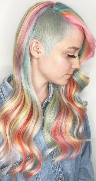 Long Pastel Rainbow Hair With Side Undercut