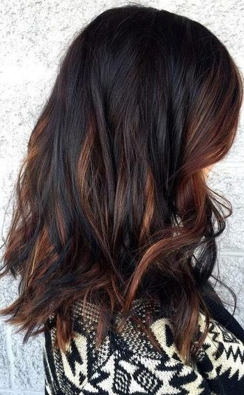 dark brown hair with dark caramel highlights