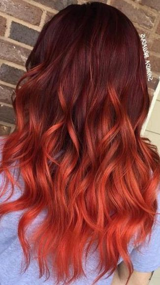 Burgundy Hair With Red Ombre Highlights