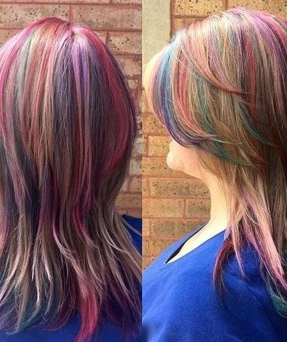 layered mid-length pastel rainbow hairstyle