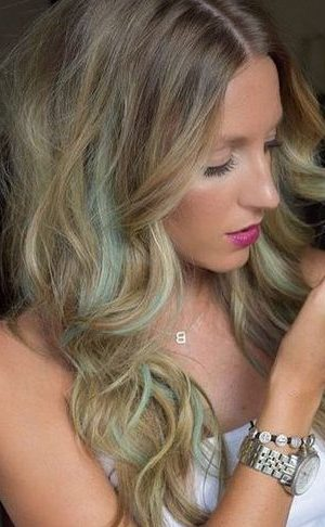 brown blonde hair with pastel highlights