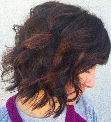 black wavy bob with reddish brown highlights