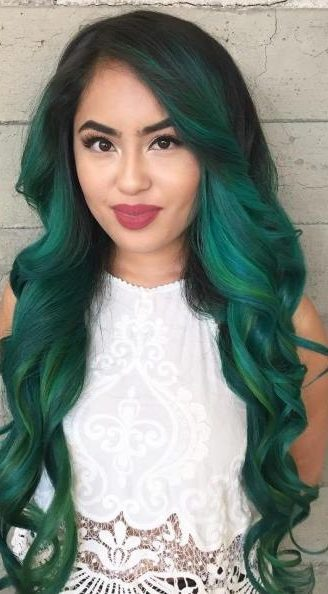 black to emerald green ombre
