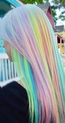 long silver blonde hair with pastel highlights