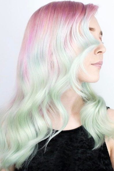 Light Pastel Pink To Teal Ombre Hair