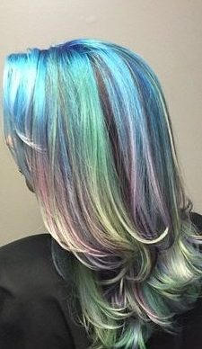 layered teal and lavender pastel hair