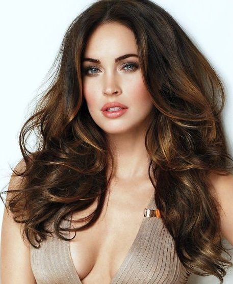 dark brown hair with honey highlights