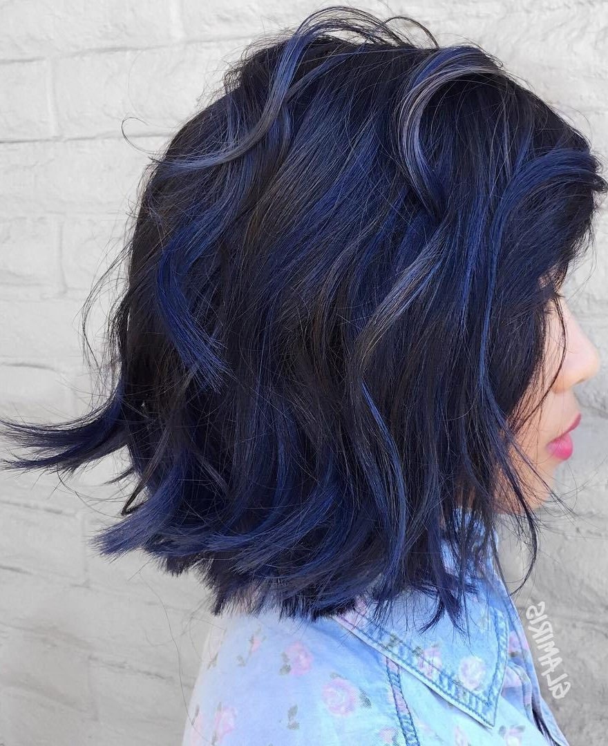 Black Bob With Blue Balayage