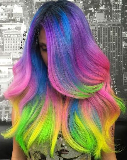 Long Layered Cotton Candy Hair