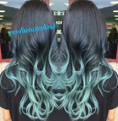 black hair with pastel blue ombre highlights