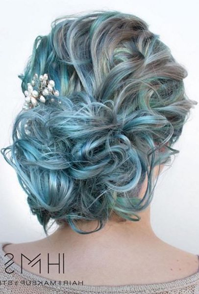 Curly Pastel Blue And Gray Updo