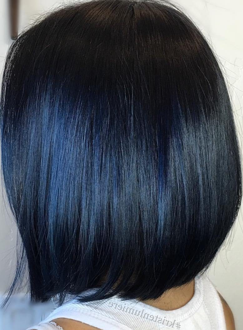 Sleek Black Bob With Blue Highlights