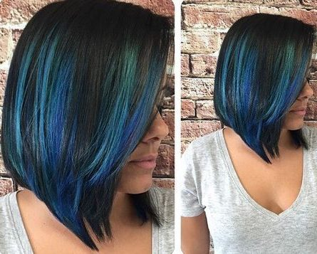 black lob hairstyle with bright blue balayage