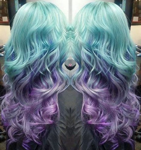 turquoise into lavender long ombre hair