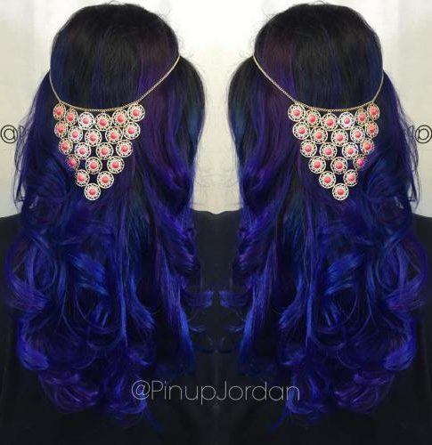 Black Hair With Blue Ombre And Purple Highlights