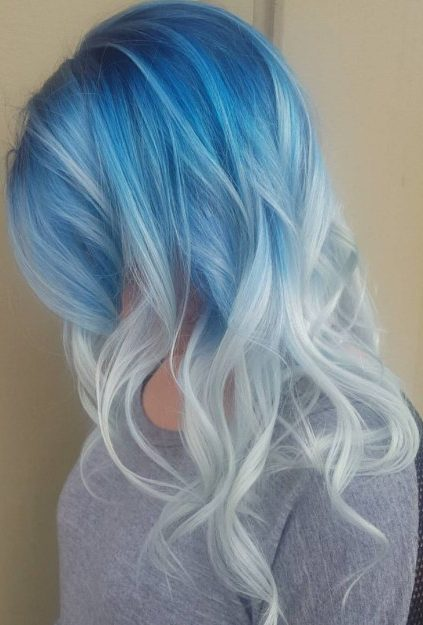 Blue To Ash Blonde Reverse Ombre