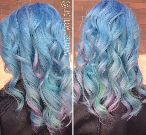 curly pastel blue hairstyle with lavender highlights