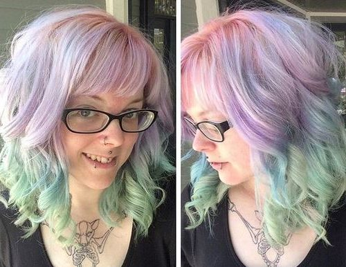 pastel pink into turquoise ombre