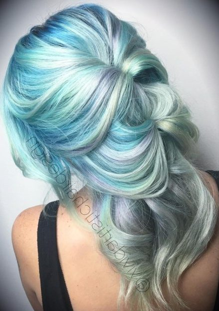 Pastel Blue Hair With Gray Highlights