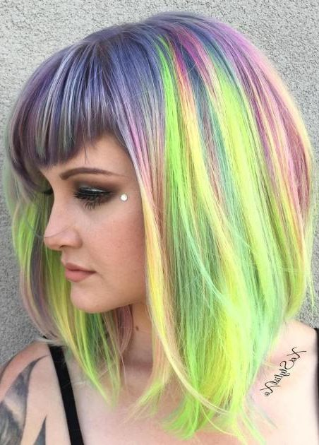Pastel Dyed Lob With Bangs
