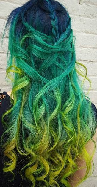 Blue Green And Yellow Ombre