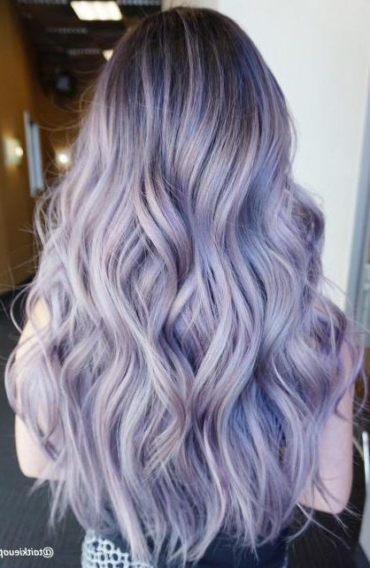 Long Pastel Purple Hair With Dark Roots