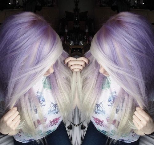 light lavender and silver gray hair