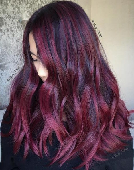 Black Hair With Burgundy Balayage