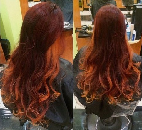 reddish brown hair with light copper ends