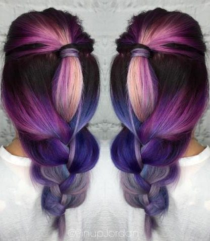 Purple To Blue Balayage Ombre