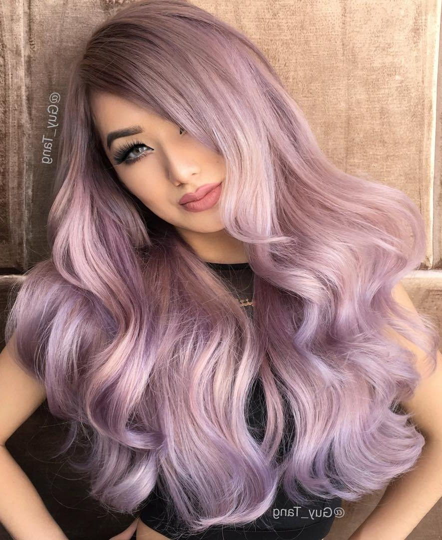 Long Pastel Purple Balayage Hair