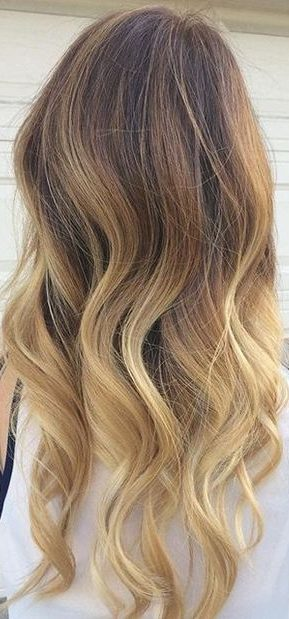 brown hair with blonde ombre highlights