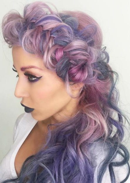 Pastel Purple Curly Braided Hairstyle