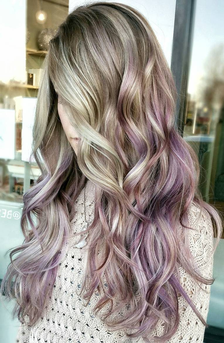 Long Lilac Ombre Hair