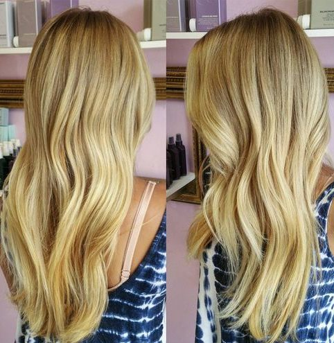 long blonde hair with brown lowlights