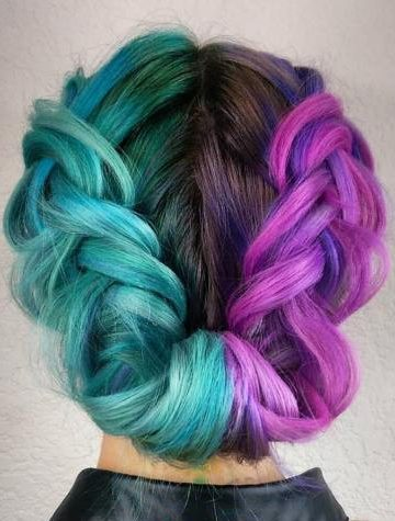 Half Teal Half Purple Hair