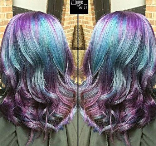 Purple And Teal Balayage Hair
