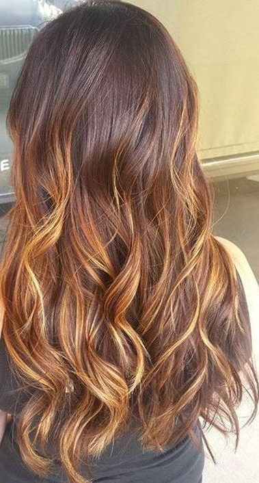 brown hair with golden blonde ombre highlights