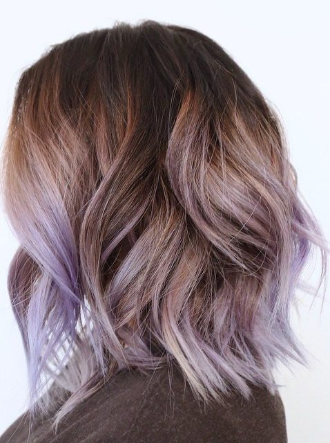 Brown Bob With Lilac Highlights