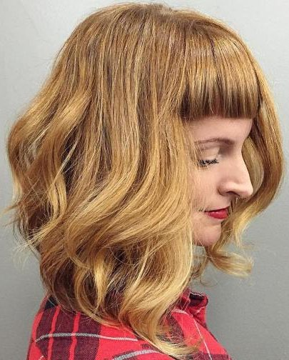 Golden Blonde Lob With Bangs