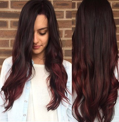cherry coke hair with burgundy highlights